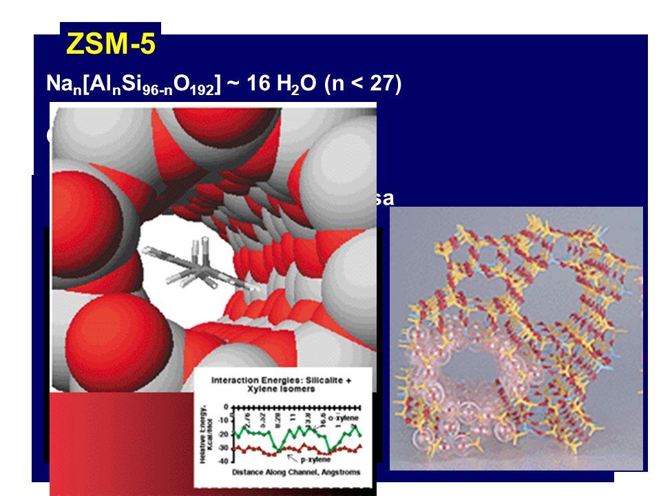 ZSM-5 Nan[AlnSi96-nO192] ~ 16 H2O (n < 27) Características:
